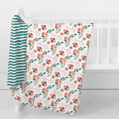 Personalized Stretchy Knit Swaddle Blanket | Sweet Blooms