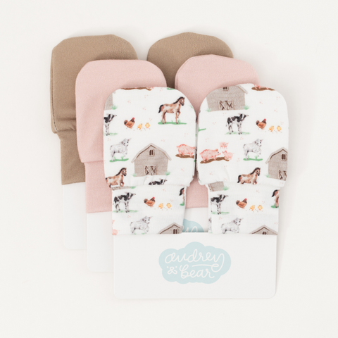 Personalized Stretchy Knit No Scratch Mitten Bundle | Baby Animal Days
