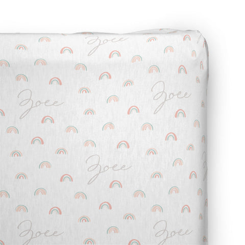 Personalized Stretchy Knit Changing Pad Cover | Pastel Rainbows