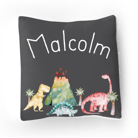 Personalized Stretchy Knit/Sherpa Throw Pillow | Dinosaur Dreams