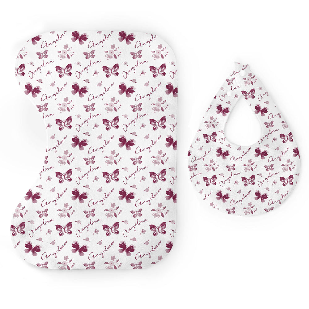 Personalized Micro Terry Bib & Burp Cloth Set | Summer Butterfly
