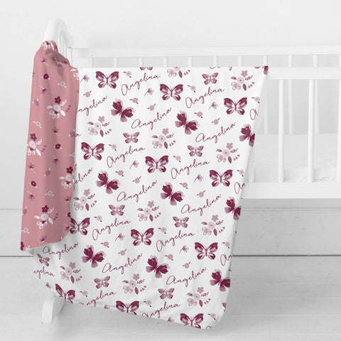 Personalized Stretchy Knit Swaddle Blanket | Summer Butterfly