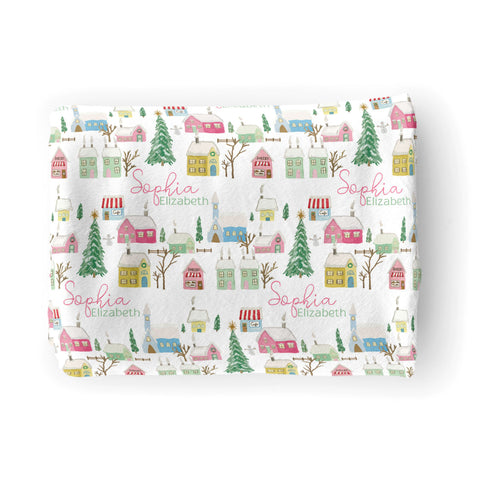Pink Winter Village | Big Kid Blanket