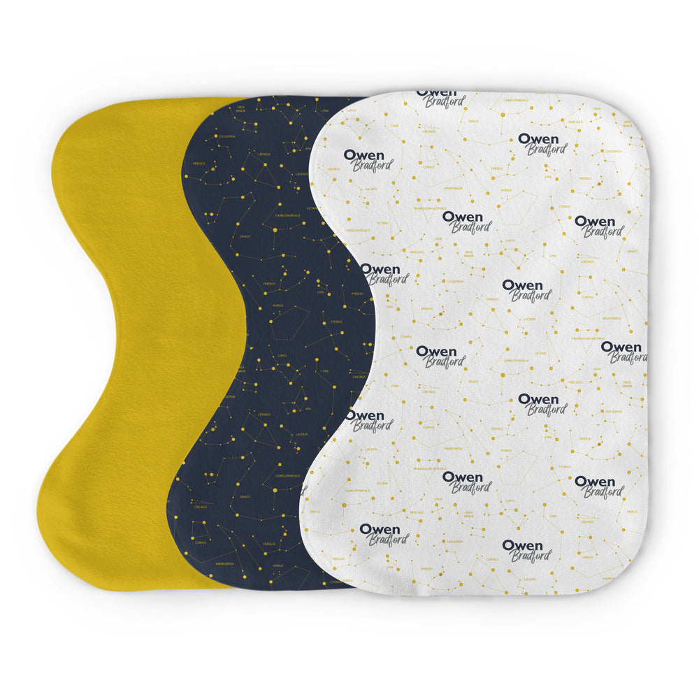 Personalized Micro Terry Burp Cloth Bundle | Captivating Constellations