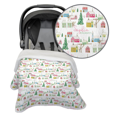 Pink Winter Village | Car Seat Blanket
