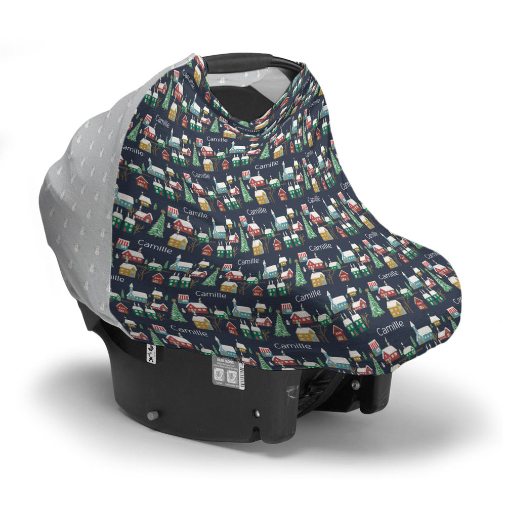 Navy Winter Village | Car Seat Cover