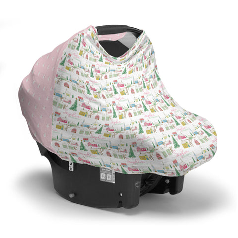 Pink Winter Village | Car Seat Cover