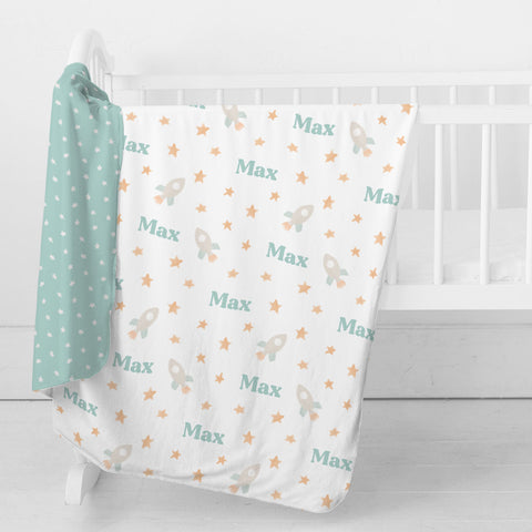 Personalized Stretchy Knit/Minky Take Me Home Bundle | Bright Rockets