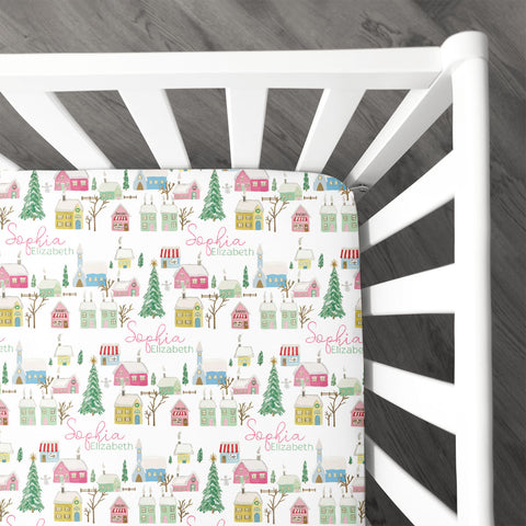 Pink Winter Village | Crib Sheet