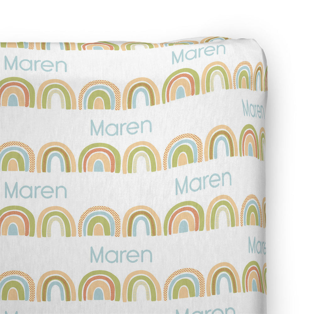 Personalized Stretchy Knit Changing Pad Cover | Brilliant Rainbow
