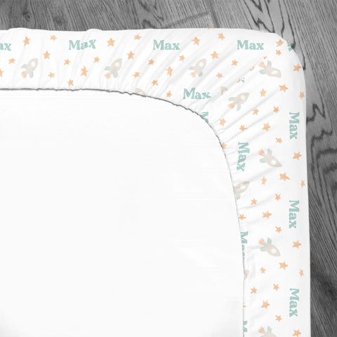 Personalized Stretchy Knit Crib Sheet | Bright Rockets