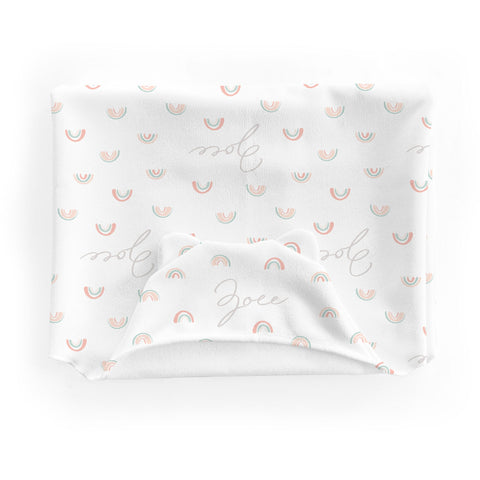 Personalized Micro Terry Hooded Baby Towels | Pastel Rainbows