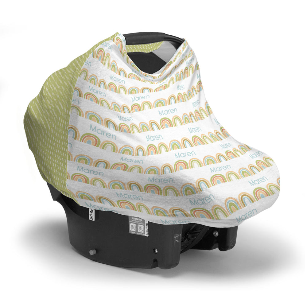 Personalized Stretchy Knit Car Seat Cover | Brilliant Rainbow