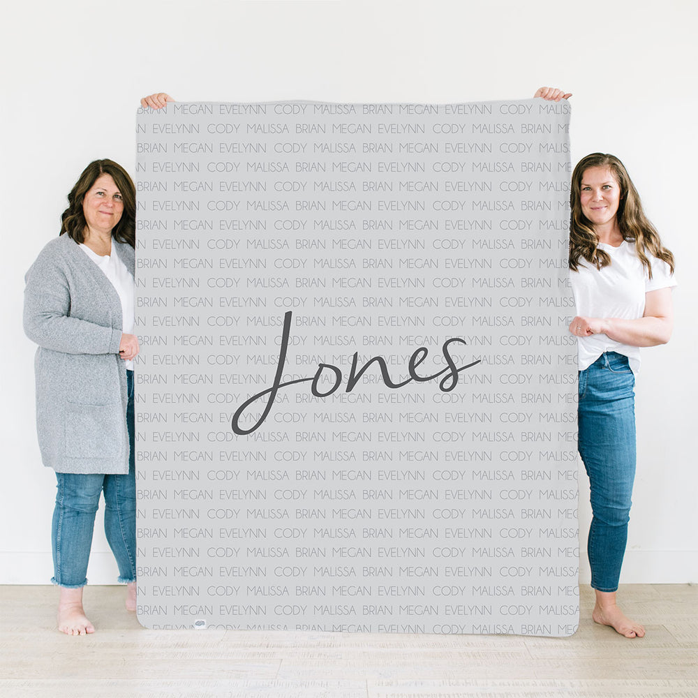 Personalized Minky/Sherpa Family Name Blanket | Family Celebration