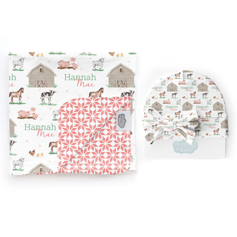 Baby Animal Days | Swaddle & Hat Set