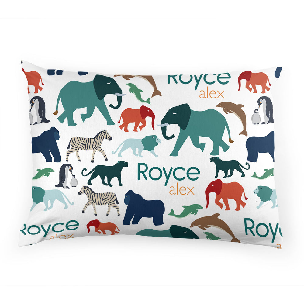 Personalized Stretchy Knit Pillow Case | At the Zoo