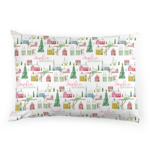 Pink Winter Village | Pillow Case