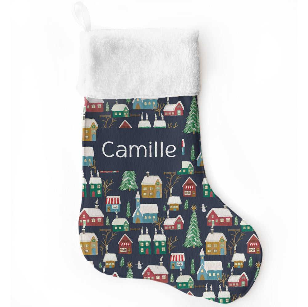 Winter Village Navy | Christmas Stocking