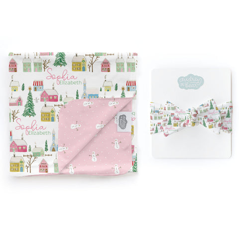 Pink Winter Village | Swaddle & Hat Set