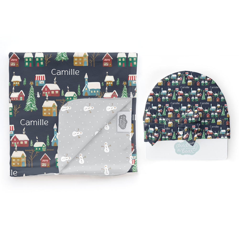 Navy Winter Village | Swaddle & Hat Set