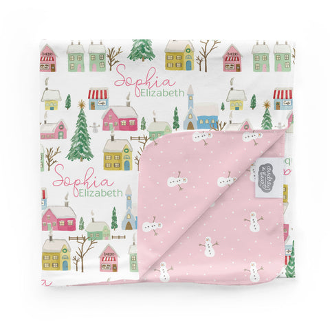 Pink Winter Village | Swaddle Blanket