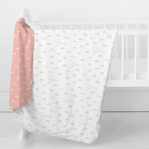 Personalized Stretchy Knit Swaddle Blanket | Pastel Rainbows