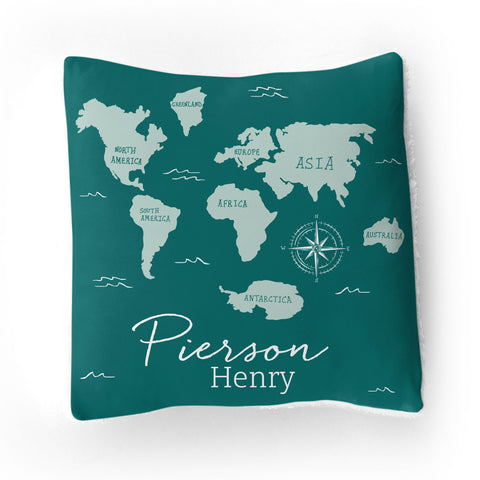 Personalized Stretchy Knit/Sherpa Throw Pillow | Adventure Awaits