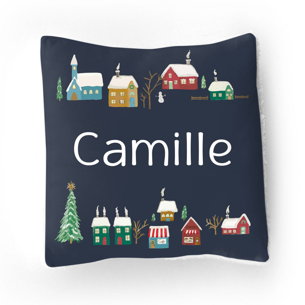 Navy Winter Village | Throw Pillow