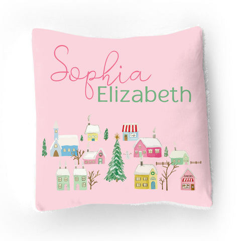 Pink Winter Village | Throw Pillow