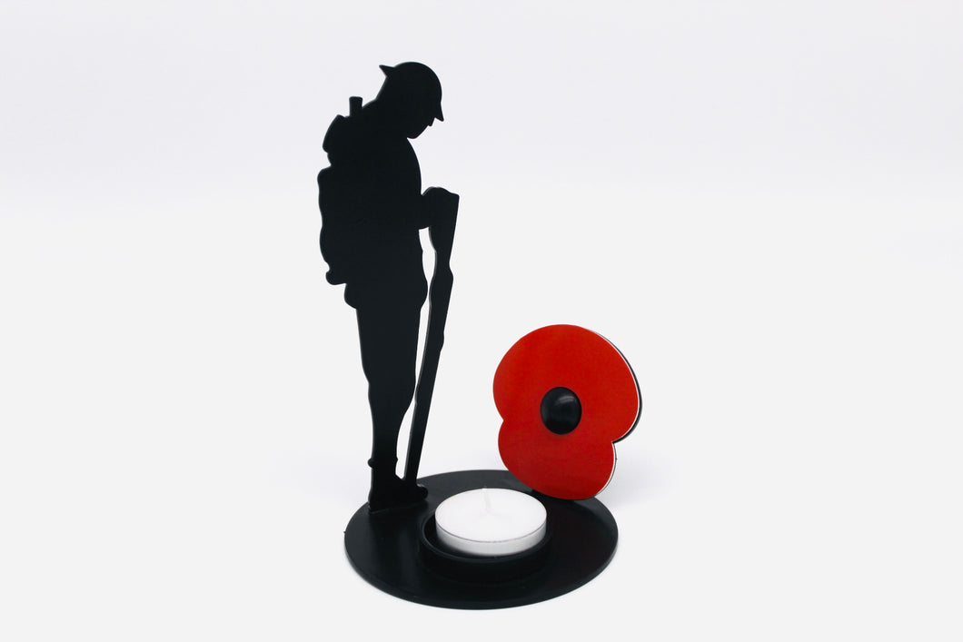 Remembrance Soldier with Red Poppy and tee light holder
