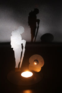 Remembrance Soldier with Poppy and tee light holder