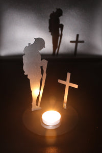 Remembrance Soldier with Cross and tee light holder