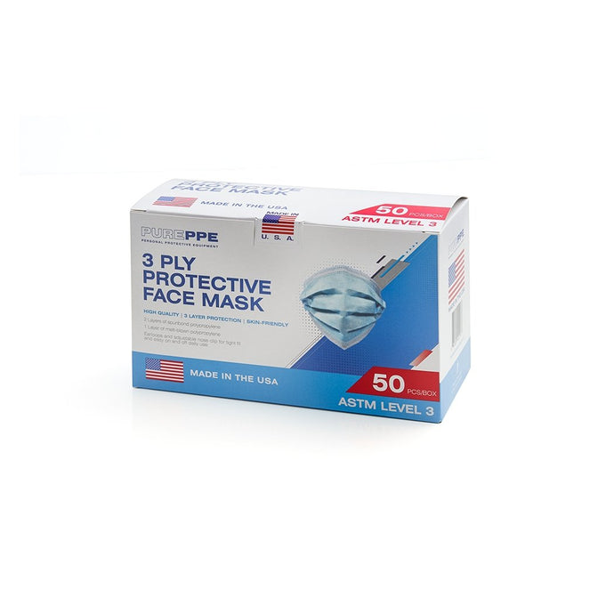 ASTM Level 3 Procedural Face Masks (Box of 50) - Made in USA - Maverick Medical