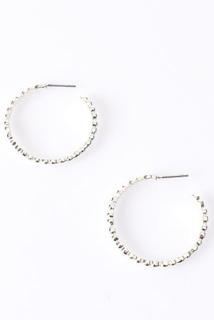 Mini Ball Open Hoop Earrings In Silver
