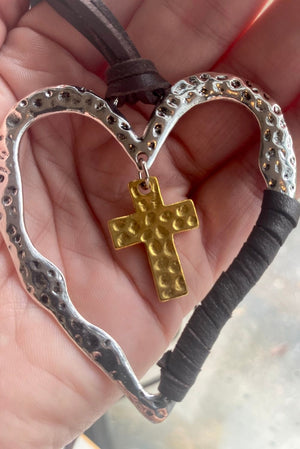 Chocolate Faux Leather Heart & Cross Pendant Necklace