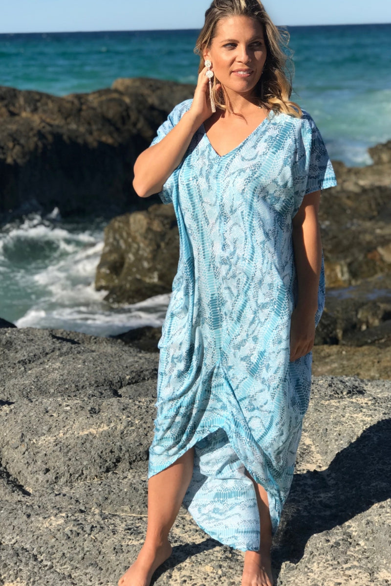 Island Holiday Dress In Baby Blue Python