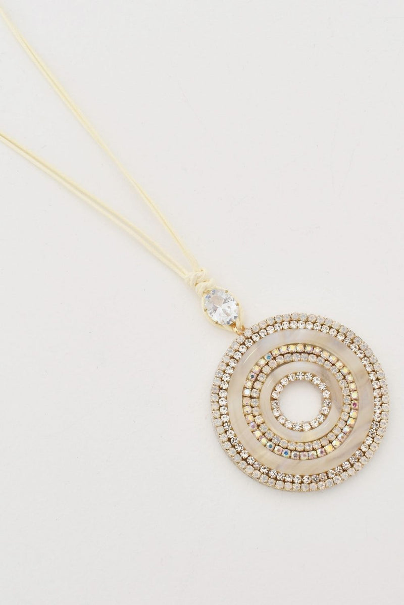 Diamante Edged Pendant Cord Necklace
