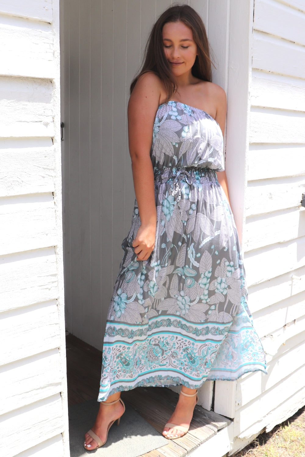 Daytripper Tube Maxi Dress In Ocean Vine