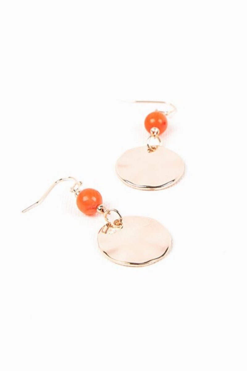 Rose Gold & Coral Hook Earrings