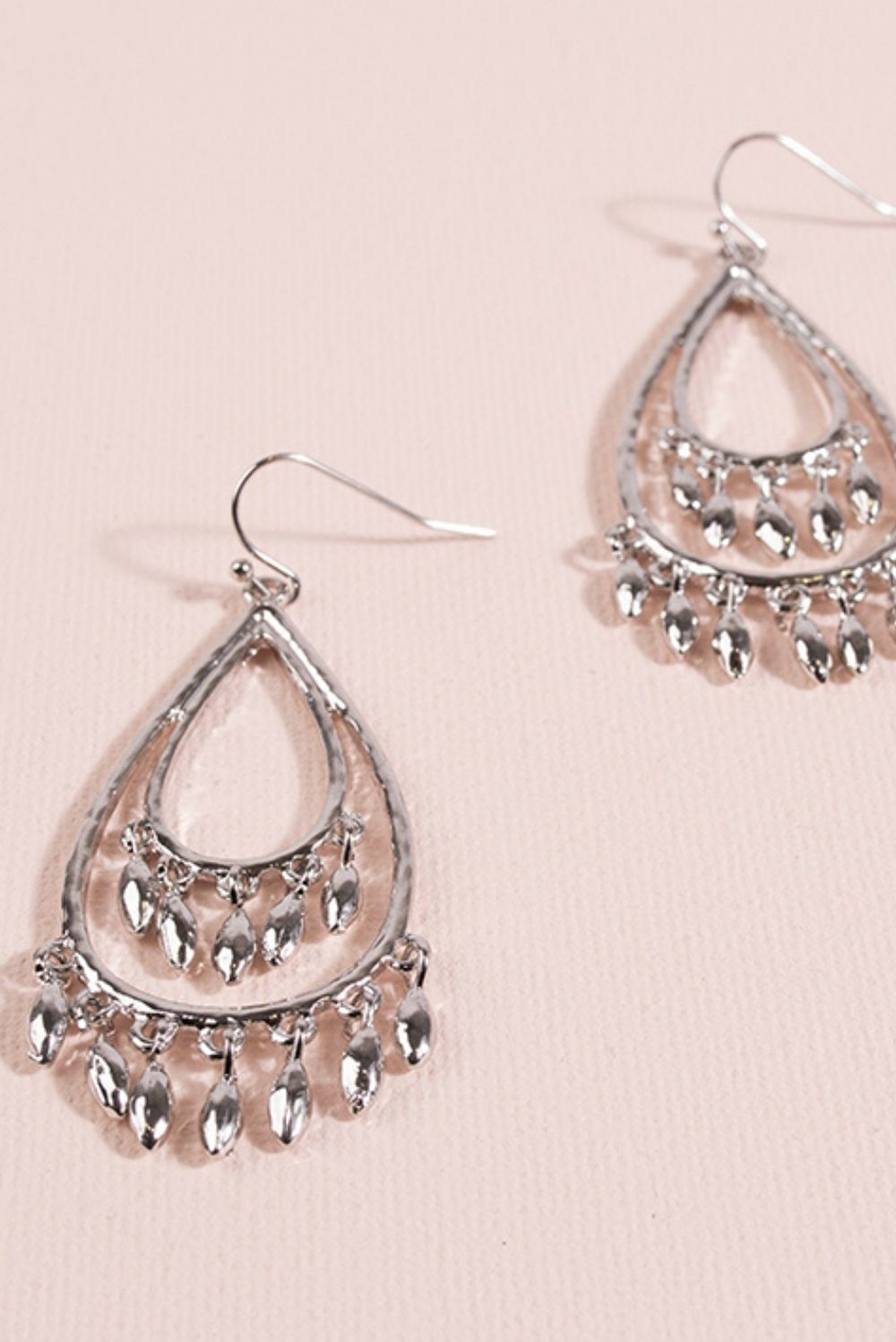 Metal Teardrop Charm Earrings