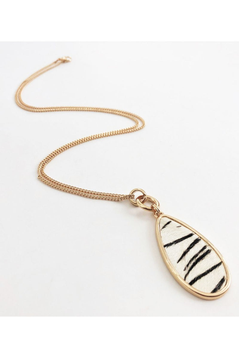 Zebra Print Pendant Necklace