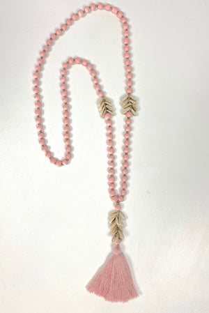 Wood Bead & Cowrie Shell Necklace In Pink
