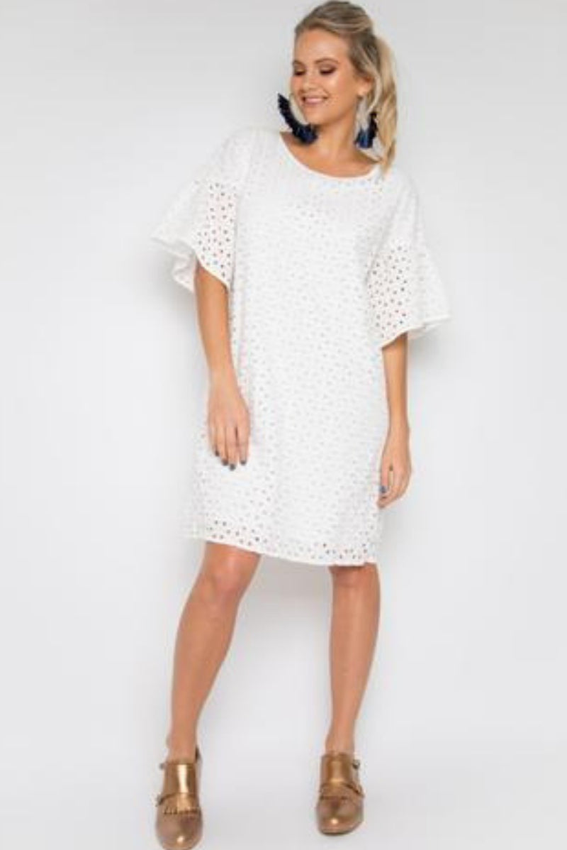 RO Angelic White Anglaise Cotton Short Dress