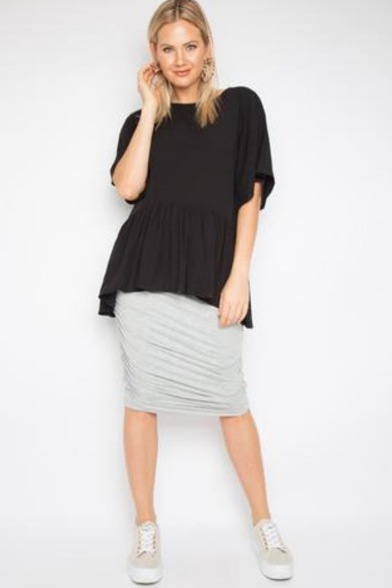 Milan Short Sleeve Top In Black