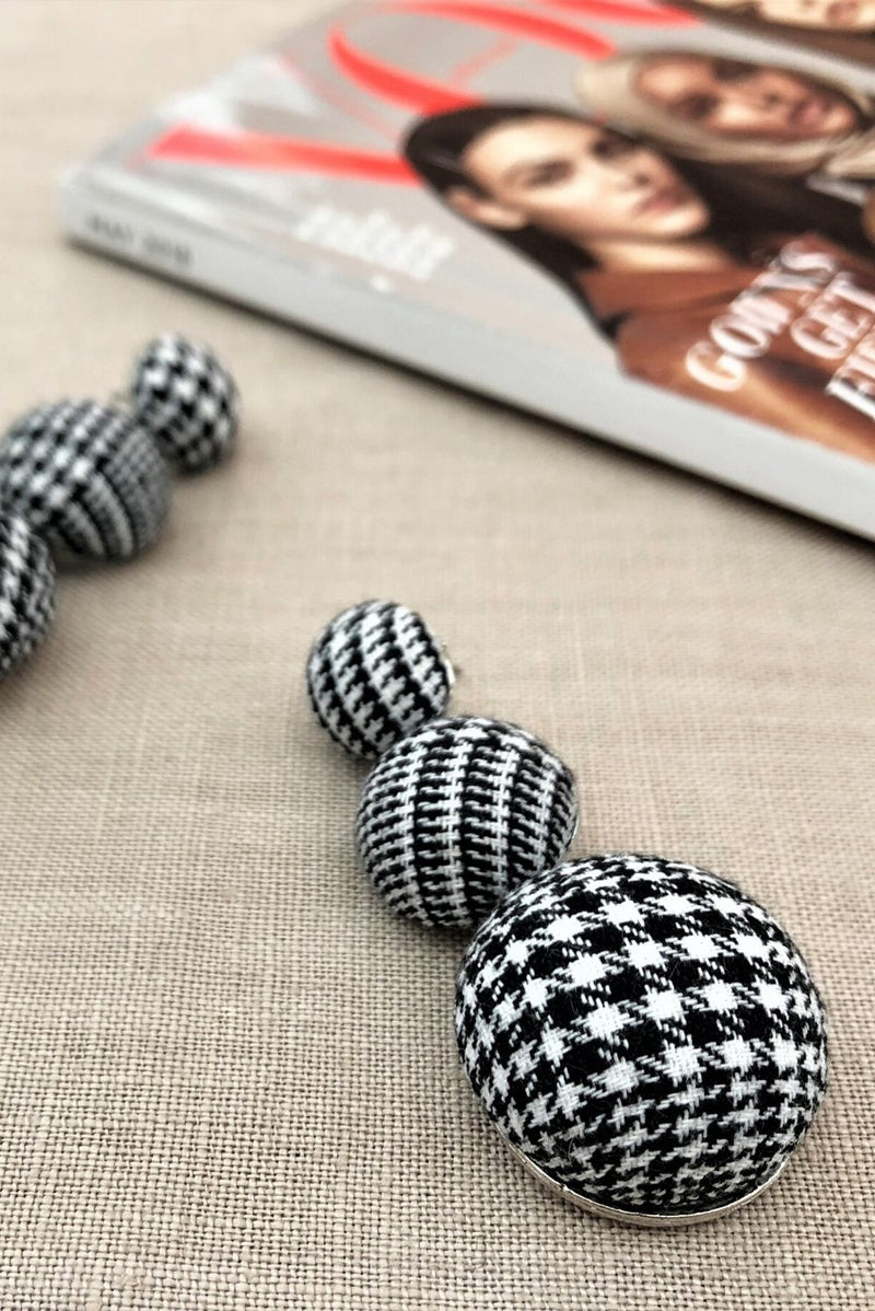 Tweed Button Drop Earrings