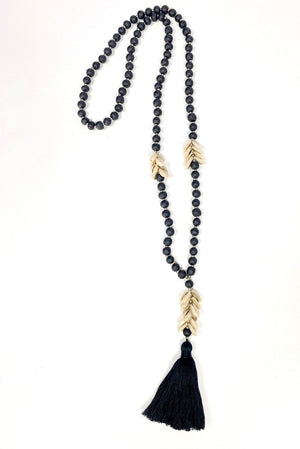 Wood Bead & Cowrie Shell Necklace In Black