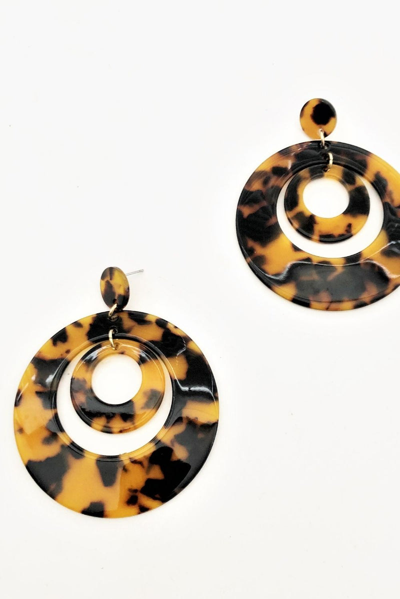Tort Resin Ring Earrings