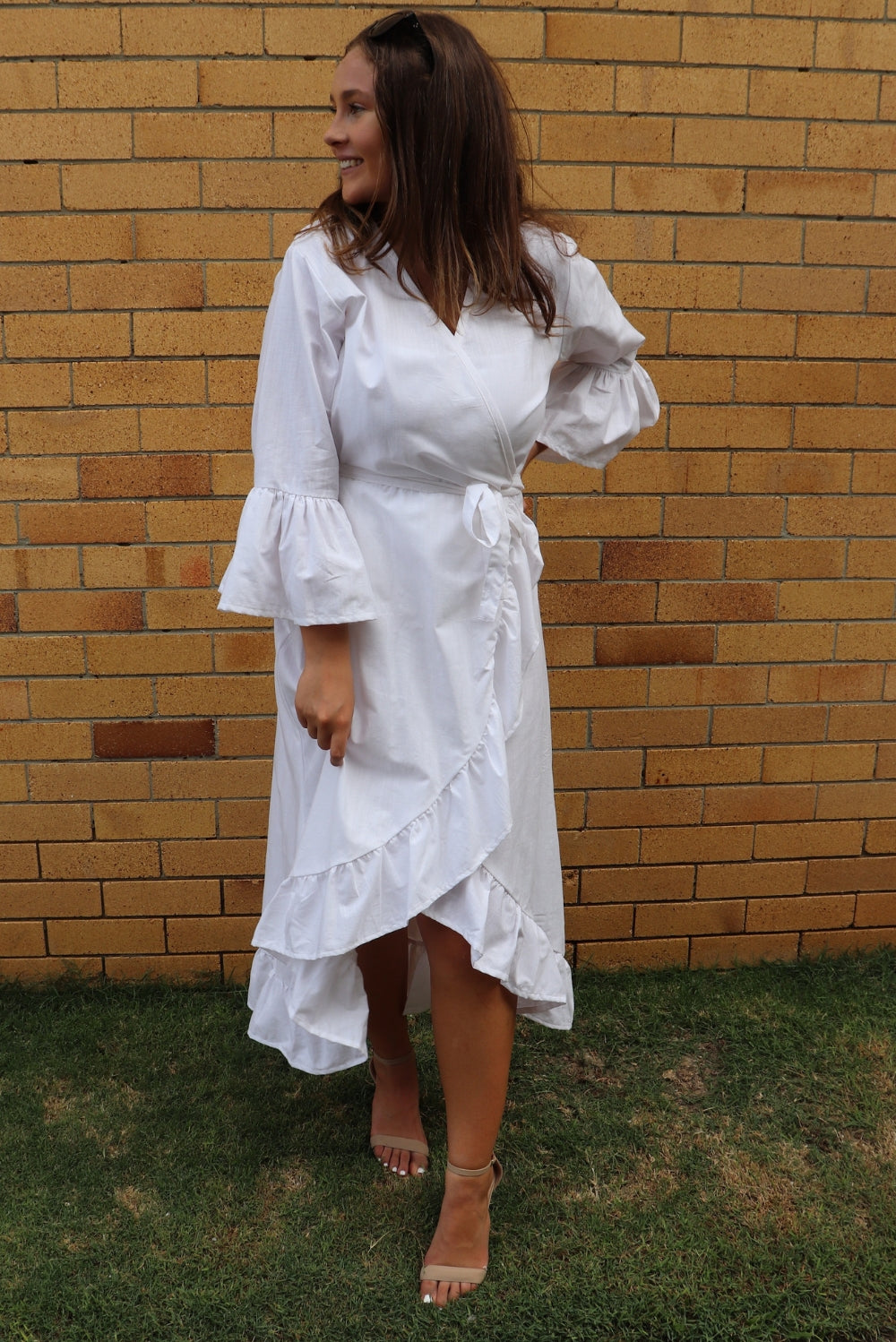 RO Long Bahama Wrap Dress In White Cotton - 2 Free Size left