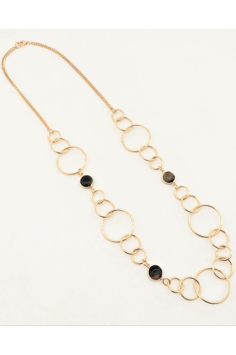 Stone & Metal Ring Long Necklace