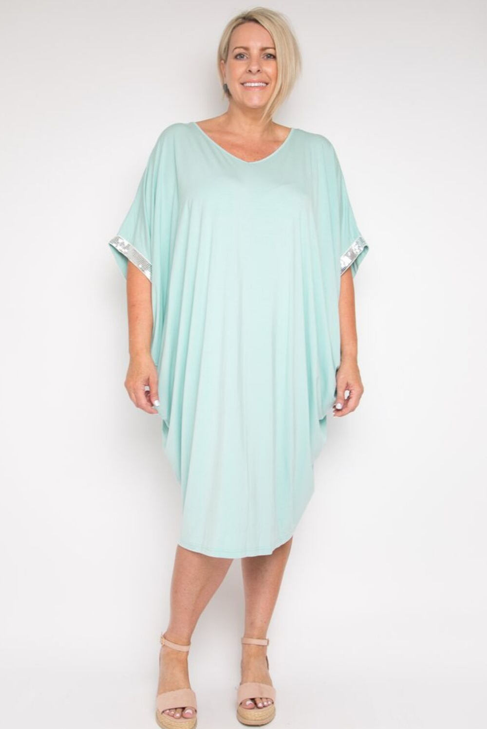 RO Bamboo Sky Sparkle Short Kaftan Dress